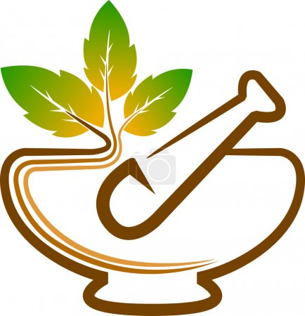 Illustration for Illustration art of a herbal logo with isolated background - Royalty Free Image