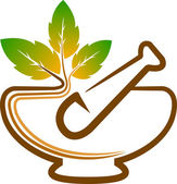 Illustration art of a herbal logo with isolated background