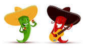 Two funny chili peppers