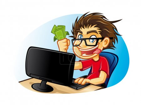 Illustration for Cartoons young with glasses who are crazy about computers with a mad expression and excessive happy with pleasure gets a commission from online business - Royalty Free Image