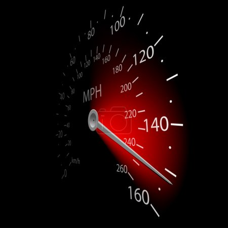 Photo for Illustration of the speedometer on dark background. Vector. - Royalty Free Image