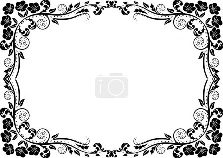 Illustration for Silhouette frame flowers - Royalty Free Image