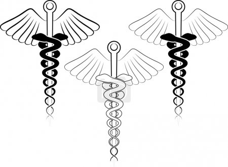 Illustration for Vector illustration of the medical symbol - esculap - Royalty Free Image