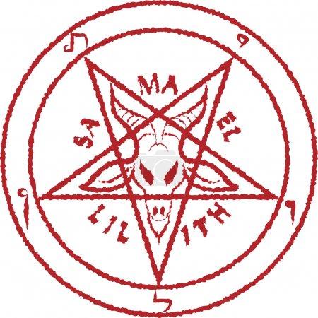 Illustration pour Pentagramme inversé - illustration de clip art - image libre de droit