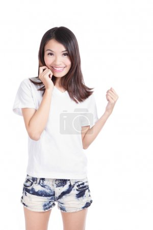 Young Girl Happy smile with white T-Shirt