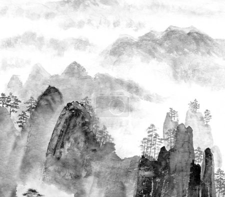Chinese painting of mountain and cloud