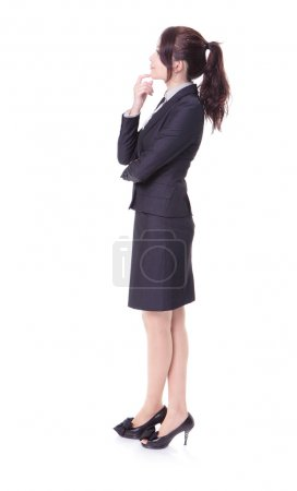 Business woman think something in profile