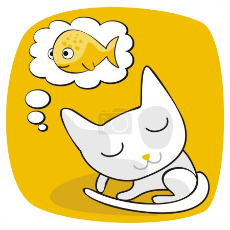 Illustration for Cartoon of a cat dreaming of fish - Royalty Free Image