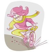 Cartoon of a biking girl in great hurry on a cold day