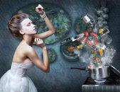 """Постер, картина, фотообои """"Плита. Хозяйка готовит блюда. Ингредиенты пищевые в дым"""""""