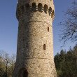 Conical Castle tower on medieval Tuscan fortificat...