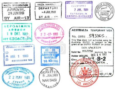 Photo pour Timbres et passeport visaa - image libre de droit