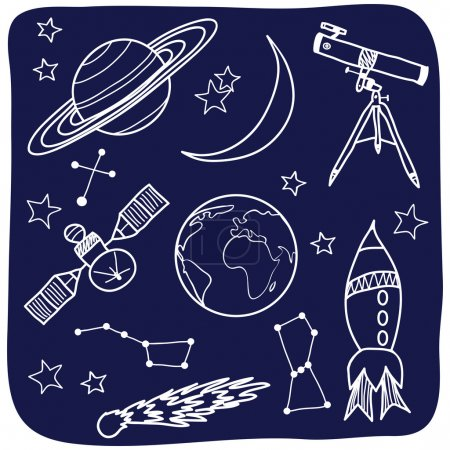 Illustration for Drawing of astronomical objects - hand-drawn illustration - Royalty Free Image