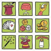 Collection of magic tricks - hand drawn illustration