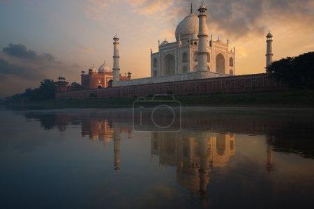 Taj Mahal Sunset Jamuna River Waterfront India