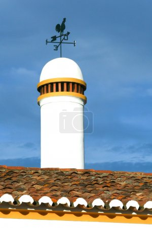 Typical chimney with weathervane from Alentejo in south of Portu