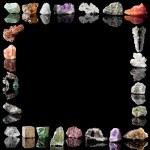 Border image of semi-precious gemstones, metals an...