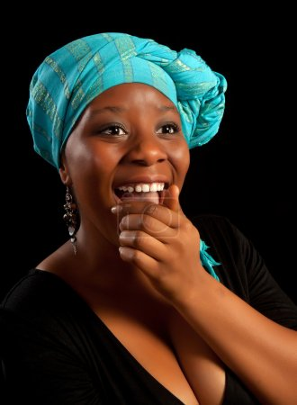 Photo for Beautiful african ghanese girl laughing out loud - Royalty Free Image