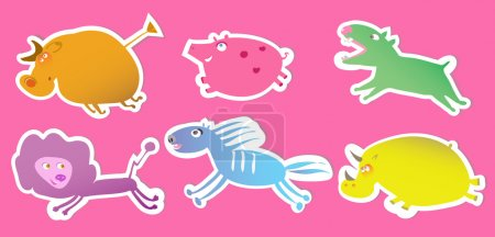 Illustration for Set of labels with funny cartoon animals, eps 8 - Royalty Free Image