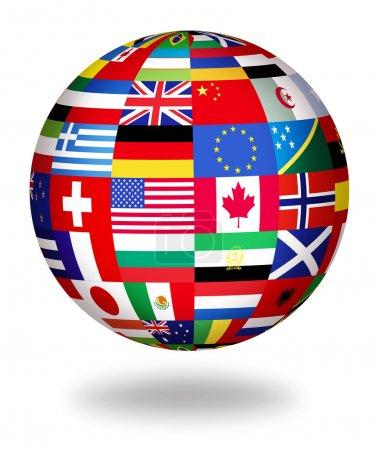 Photo pour Floating globe recouvert de drapeaux du monde - image libre de droit