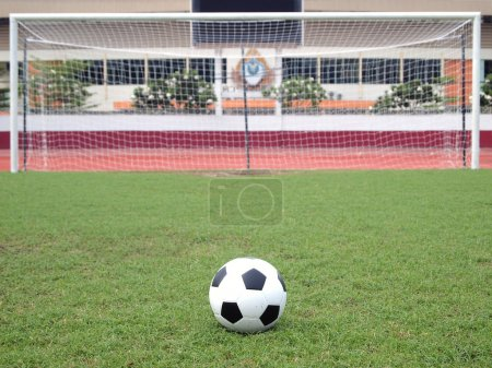 Perspective of penalty spot of soccer field