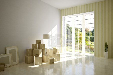 Photo for Interior moving house with cardboard boxes - Royalty Free Image