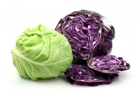 Freshly cut red and white cabbage