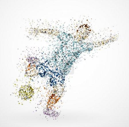 Illustration pour Résumé de footballeur, taper dans un ballon. EPS 10 - image libre de droit