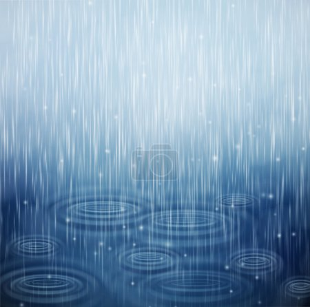 Illustration for Background with rain and waves on the drops. Eps 10 - Royalty Free Image