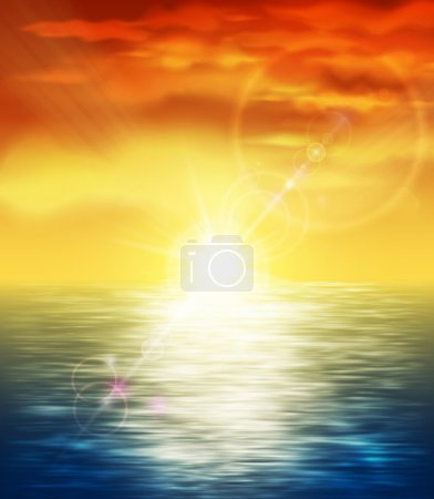 Illustration for Natural background with sunset at sea. Eps 10 - Royalty Free Image