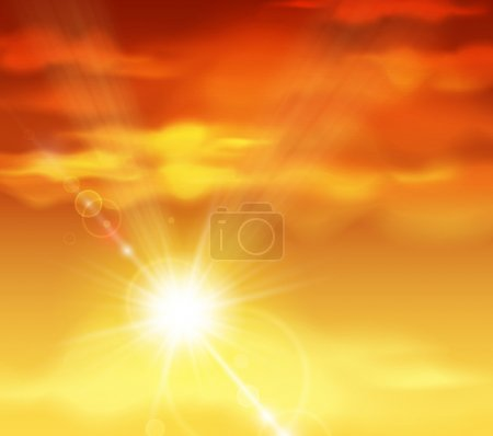 Illustration for Natural background with sunset. Eps 10 - Royalty Free Image