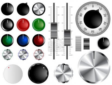 Plastic and chrome knobs, dials and sliders...