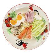 Japonský ramen nudle s krevetami, vepřové maso, šunka a vejce