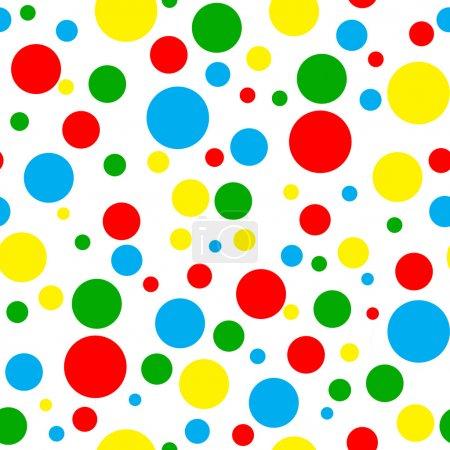 Foto de Patrón sin costuras de lunares de color lápiz brillante en varios tamaños sobre fondo blanco - Imagen libre de derechos