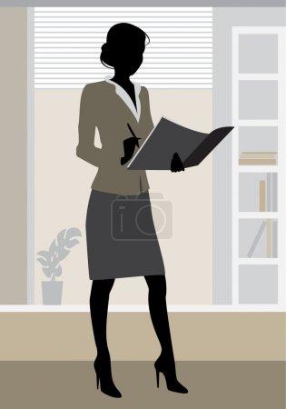 Illustration pour Illustration vectorielle d'une silhouette de femme d'affaires en fonction - image libre de droit