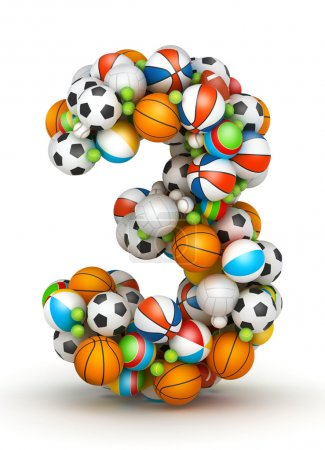 Photo for Number 3, stacked from gaming balls alphabet - Royalty Free Image