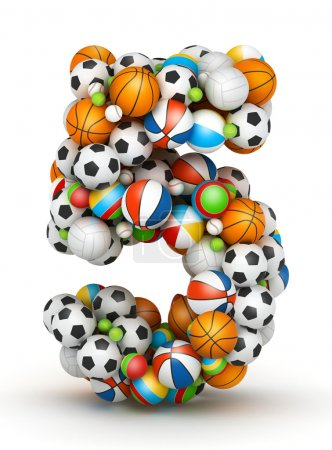 Photo for Number 5, stacked from gaming balls alphabet - Royalty Free Image