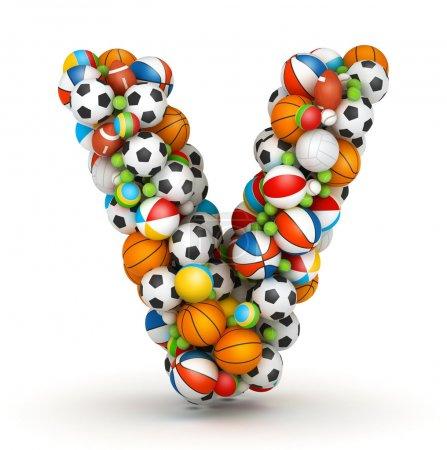 Letra V, alfabeto de bolas de juego