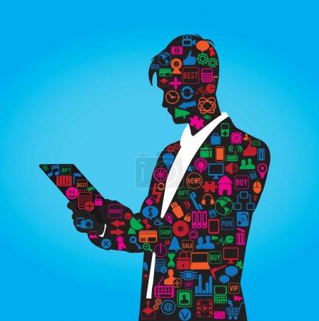 Illustration pour La silhouette de l'homme d'affaires avec ensemble de symboles sur les médias sociaux - illustration vectorielle - image libre de droit