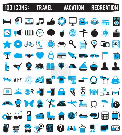 Illustration for 100 icons for travel vacation recreation - vector icon - Royalty Free Image