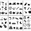 77 food and drink icons set for white background...