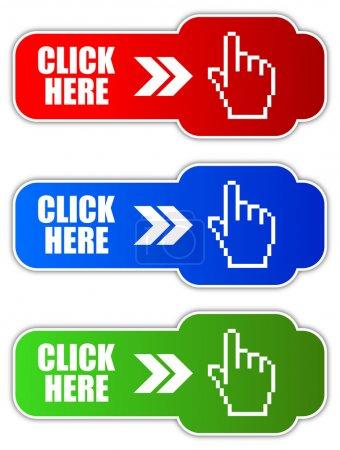 Illustration pour Vector cliquez ici boutons mis isolé sur blanc - image libre de droit