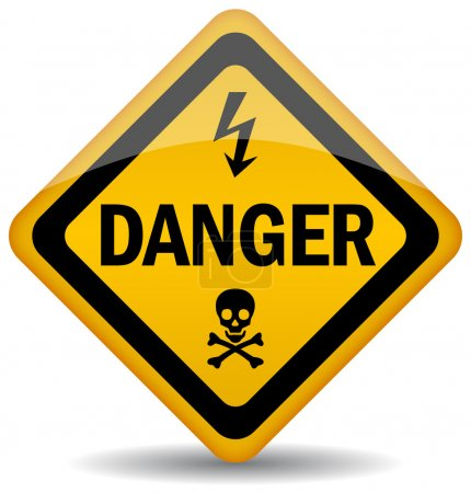 Vector danger warning sign isolated on white...
