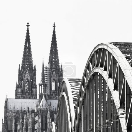 View of the city of Koeln (Cologne) in Germany black and white