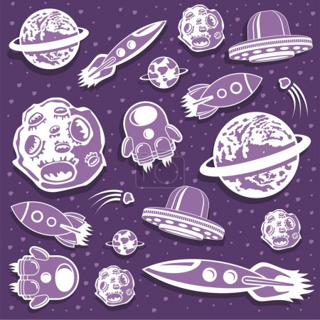 Illustration for Space background: seamless pattern with hand drawn space cartoons - Royalty Free Image