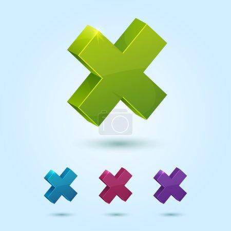 Set of X mark symbol isolated on blue background