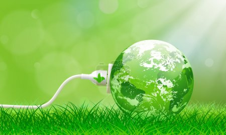 Illustration for Green energy concept with Planet Earth and electric plug on lush grass - Royalty Free Image