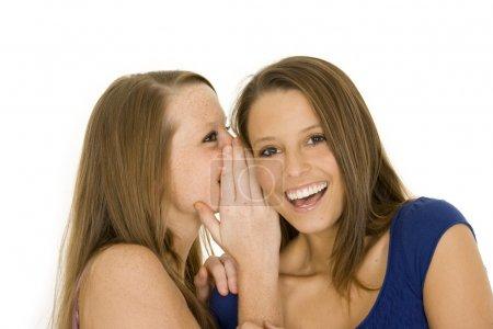 Foto de Dos hermosas mujeres caucásicas contando secretos sobre un fondo blanco - Imagen libre de derechos