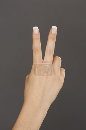Photo for Caucasian female using hand gestures to show two fingers - Royalty Free Image