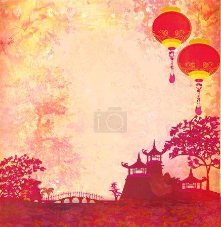 Photo pour Vieux papier avec paysage asiatique et lanternes chinoises - fond de style japonais vintage, raster - image libre de droit